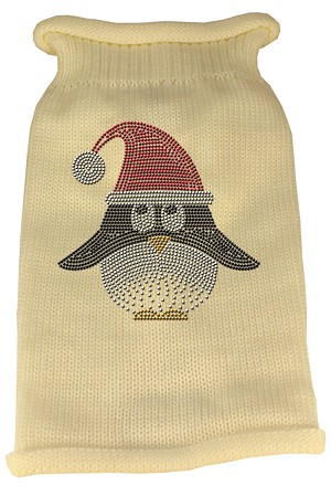 Santa Penguin Rhinestone Knit Pet Sweater XL Cream